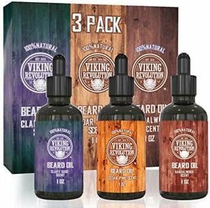Beard Oil Conditioner 3 Pack - All Natural Variety Gift Set - Sandalwood,...