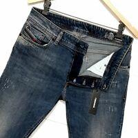 ⭐ Mens Diesel Sleenker Slim-skinny stretch distressed denim jeans 069FI W32 L32