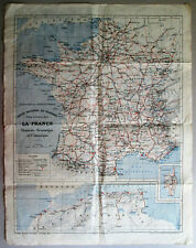 Antique folding tourist map. FRANCE, by HENRY BARRERE. 1929