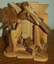 Olive Wood Carved Nativity Made in Bethlehem Small Table Top or Wall Mount