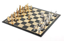 Chess set: 32 piece, Oriental inspired design,Solid Silver and Silver Gold Plate