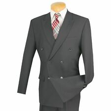 LUCCI Men's Gray Double Breasted Classic Fit Poplin Polyester Suit NEW