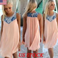 US Boho Ladies Sleeveless Party Tops Womens Summer Beach Swing Dress Plus Size