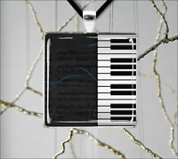 MUSIC INSTRUMENT PIANO KEYBOARD PENDANT NECKLACE -asd4Z