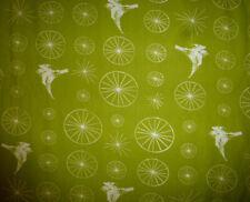 Bird Wheel Green Organic Cotton Quilting Fabric