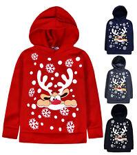 Kids Christmas Hoodie New Boys Girls Xmas Reindeer Rudolph Jumper Top 2 - 13 Yrs