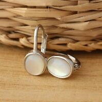 Solid 925 Sterling Silver Mother of Pearl Oval Stylish Earrings Gift Boxed