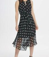 DKNY Womens Black Keyhole Polka Dot Print Chiffon Fit & Flare MIDI Dress 8