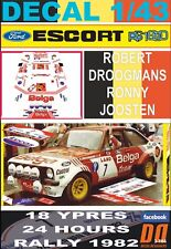 "DECAL 1/43 FORD ESCORT RS 1800 MKII ""BELGA"" R.DROOGMANS YPRES R. 1982 DnF (06)"