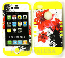 KoolKase Hybrid Armor Silicone Cover Case for Apple iPhone 4 4S - Red Flower