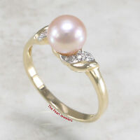 14k  Yellow Gold, Genuine Pink AAA Cultured Pearl & Diamonds Cocktail Ring TPJ