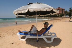 Silver on top & black underneath 2M Sand Anchor Beach Umbrella Outdoor Sun Shade