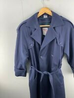 The Waters Edge for Michelle Stuart Men's Blue Vintage Lined Trench Coat Size XL
