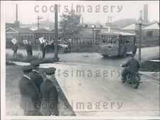 1934 Chicago Motorcycle Police Escort Bus During Strike Press Photo