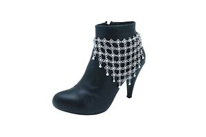 Women Silver Metal Chain Boot Bracelet Shoe Flower Net Charm Anklet Middle East