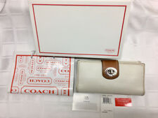Genuine COACH Turnlock White/Toffee Leather Checkbook and Wallet - MSRP $228.00