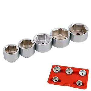 """5pc Oil Filter Wrench Cap Remover Socket Set 3/8"""" Drive 24 27 32 36 38mm"""