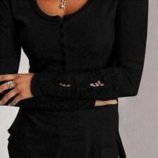 2018 Fashion Women Lace Tops Loose T-Shirt Long Sleeve Casual Cotton Blouse
