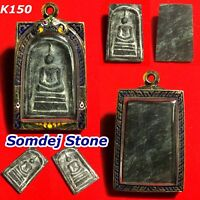 Phra Somdej LP TOH Magic Stone Relics Thai Amulet Buddha Silver Case Necklace