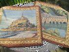 """Vintage Belgian French Tapestry Pair 15"""" Chenonceaux & Mont Saint Michel Castle"""