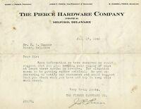 Milford Kent County Delaware 1942 Pierce Hardware Store Business Letter
