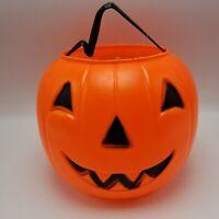 "Blow Mold Halloween Jackolantern Pumpkin Trick Treat Plastic Pail Bucket 8"""