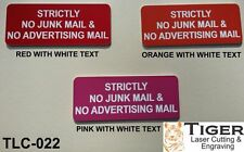 STRICTLY NO JUNK MAIL & NO ADVERTISING MAIL - RED/WHITE - 10CM X 4.5CM