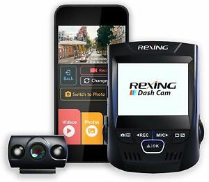 """Rexing V1P 2.4"""" Dash Cam LCD FHD 1080p 170 Degree Wide Angle Dual Channel Wi-Fi"""