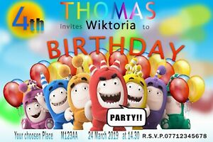 Personalised Birthday Kids Party Invitation Card Oddbods