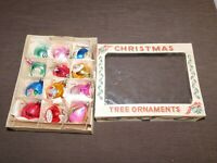 VINTAGE  POLAND 12 CHRISTMAS TREE ORNAMENTS IN BOX