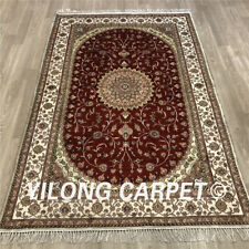 Yilong 4'x6' Red Handmade Carpet Hand Knotted Silk Area Rugs and Carpets Y475C
