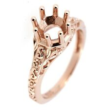 Art Deco Vintage 14K Rose Gold Semi Mount Ring Setting Round RD 6x6 - 7x7 mm