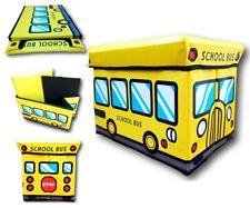 Children's Toy Storage Chest, Vinyl Padded Bench or Ottoman - Yellow Schoolbus