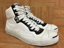 RARE🔥 Converse Jack Purcell IT HI Fashion Sneakers White Leather Black Sz 8 Men