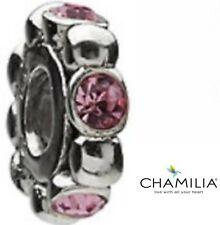 Genuine Chamilia sterling silver cham 925 pink zirconia bracelet charm spacer