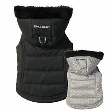 """Reversible Dog Puppy Jacket w Removable Hoodie - 17-19"""" Chest - Black & Grey"""