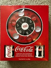 Coca-Cola Game Set with Magnetic Bottle Cap Dart Board Mugs and Pretzels NEW