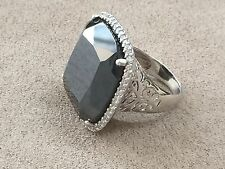 Black Obsidion Ring surrounded by CZ Stones Sterling Silver 925 - Size 8