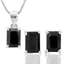 BLACK SAPPHIRE STERLING SILVER NECKLACE EARRING SET 3.62 CWT FEB  BIRTHSTONE