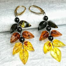 Natural Baltic Amber Leaf Drop Earrings Beaded Yellow Gold Plated Handmade Gift