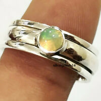 Ethiopian Opal Ring Spinner Solid 925 Sterling Silver Ring Meditation kd9301