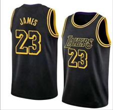 LeBron James #23 LA La ker Basketballtrikots Swingman Genähte schwarze Netzweste