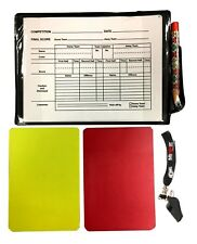 FOOTBALL REFEREE KIT WHISTLE RED YELLOW CARDS REF SCORE POCKET SET WORLD CUP UK