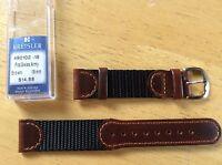 NEW KREISLER WATCH BAND BRACELET- Leather & Nylon 19mm Brown & Black 490102-19