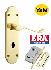YALE PREMIUM VICTORIAN BATHROOM HANDLES WITH ERA BATHROOM LOCK POLISHED BRASS