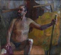 """Russischer Realist Expressionist Öl Leinwand """"Akt"""" 120x88 cm Top!"""