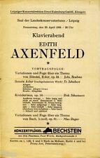 Edith Axenfeld Klavierkonzert Programmheft Leipzig 1936 Konzert Ludwig Wüllner