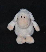 Peluche doudou mouton NICI blanc crème beige yeux durs 11 cm assis NEUF