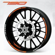 790 Duke motorcycle wheel decals rim stickers stripes laminated set orange