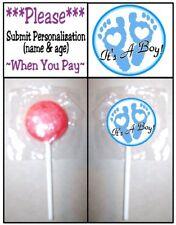 24 It's A Boy Footprints Welcome Baby Shower Lollipop Stickers Favors Blue Its